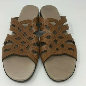 Munro 9 Brown Womens Leather Shoes Sandals Slip On